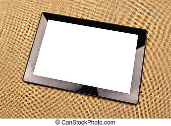 digital, tabuleta, computador, com, em branco, branca, tela,...