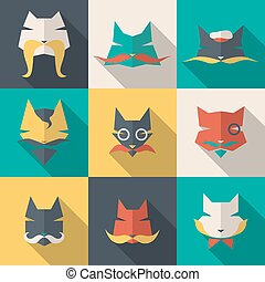 Bright cats - Icons set: character cats Long shadow