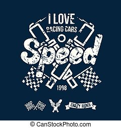 Emblem of the racing car in retro style Graphic design for...