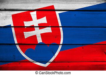 Slovakia Flag on wood background