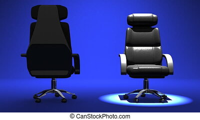 Two Spotlighted Business Chairs On Blue Background 3D render...