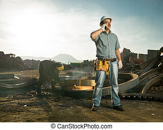 inspector at recycling center - caucasian male engineer...