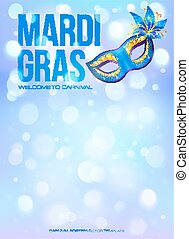 Blue Mardi Gras poster template with bokeh effect and...