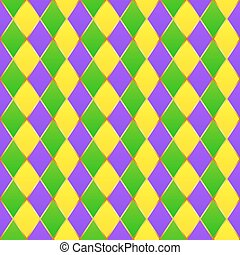 Green, purple, yellow grid Mardi gras seamless pattern -...