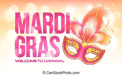 Pink vector Mardi Gras banner template with red carnival...