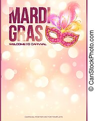 Light pink Mardi Gras poster template with bokeh effect and...