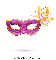 Purple isolated carnival mask with golden flower - Purple...