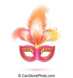 Red isolated carnival mask with feathers - Red isolated...