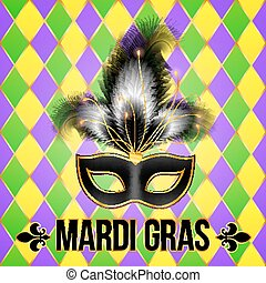 Black Mardi Gras mask with feathers on grid background -...