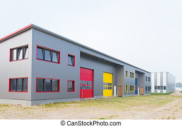 modern new warehouse - exterior of a newly build warehouse...