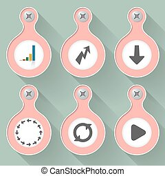 Set of six vector objects with icons