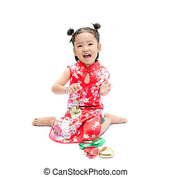 Cute asian girl in red chinese dress with heart in hand isolated