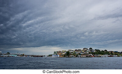 Ultra wide angle of Manaus with cloudy sky, Amazon - Wide...