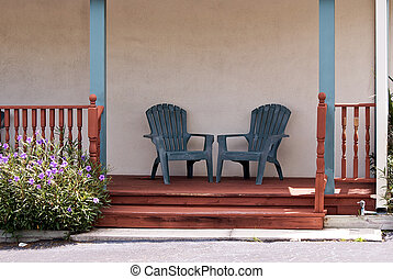 empty porch with chairs - an empty porch at an abandoned...