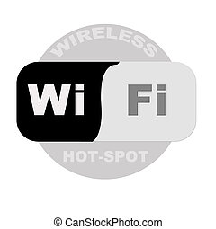 wireless hot-spot sign template on isolated background
