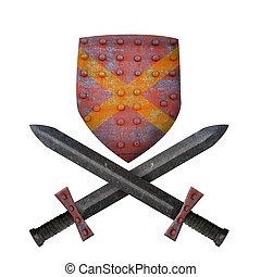 antigas, espadas, escudo, dois