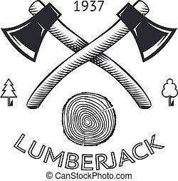 Lumberjack Logo Symbol Hatchet Axe Wood Rings Cut Tree Trunk...