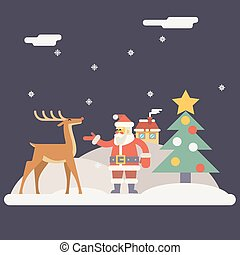 Winter Santa Claus and Rudolph Deer Characters New Year Landscape Christmas Icon Greeting Card Flat Design Vector Illustration
