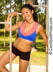 Happy fit woman