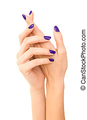 Beautiful Woman hands with purple manicure. Hand care. white...