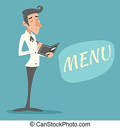 Vintage Waiter Garcon Accepts Order Symbol Restaurant Menu...