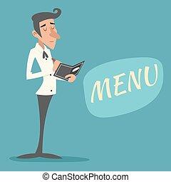 Vintage Waiter Garcon Accepts Order Symbol Restaurant Menu...