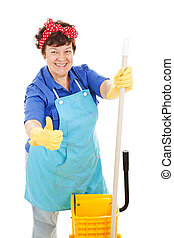 Maid Gives Thumbs Up for Cleanliness - Maid holding her mop...