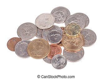 Pile of US coins top view isolated on white background