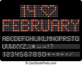 Information led timeboard. Digits and letters vector clip-art. V