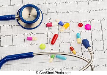 stetoscopio, e, tavolette, su, un, ECG,