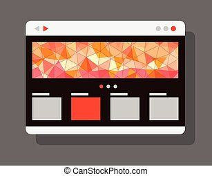 Modern internet browser window with abstract banner