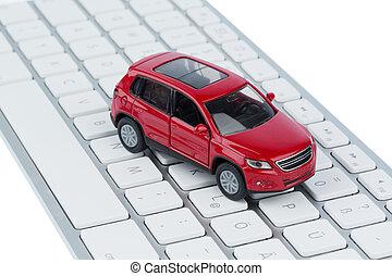 car on copmputertastatur - car on keyboard symbol photo for...