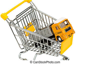 shopping carts and trucks - a shopping cart and a truck...