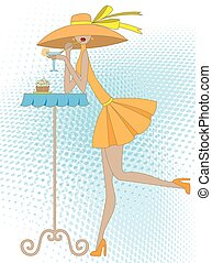 girl with drink - girl in a hat drinks drink and eats a...