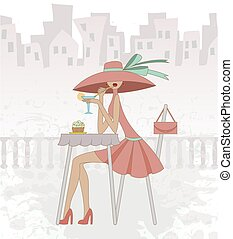 girl in cafe - girl in a hat sits in cafe against the old...