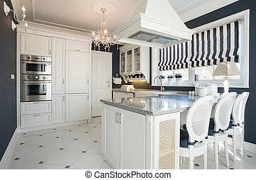 beleza, cozinha, com, branca, mobília,