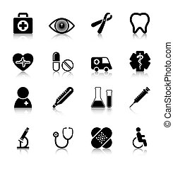 Medical Icons Set with reflection