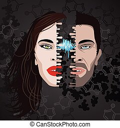 half faces - half face of woman and man