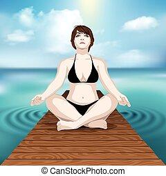 woman practicing yoga at sea