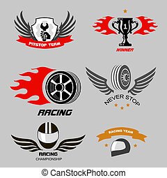Car racing badges and motorcycle service, Championship logos...