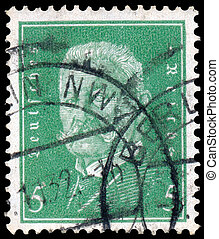 stamp printed in Germany shows Paul von Hindenburg - GERMANY...