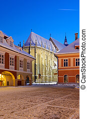The Black church, Brasov, Romania - Night view over Brasov's...