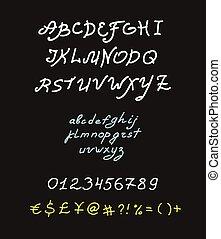 Retro vector brush script lettering font, handwritten...