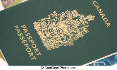 Zooming out from a Canadian passport and other id - Zooming...