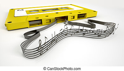 Cassette Tape And Musical Notes Concept - A concept view of...
