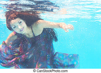 Underwater woman close up portrait in swimming pool