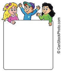 Blank frame with happy kids - eps10 vector illustration