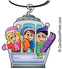 Cable car theme image 1 - eps10 vector illustration