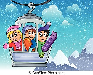 Cable car theme image 2 - eps10 vector illustration