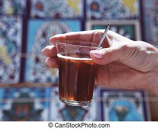 お茶, 暑い, 女, チュニジア, 保有物